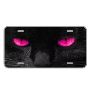 Custom license plate with pink eyed cat